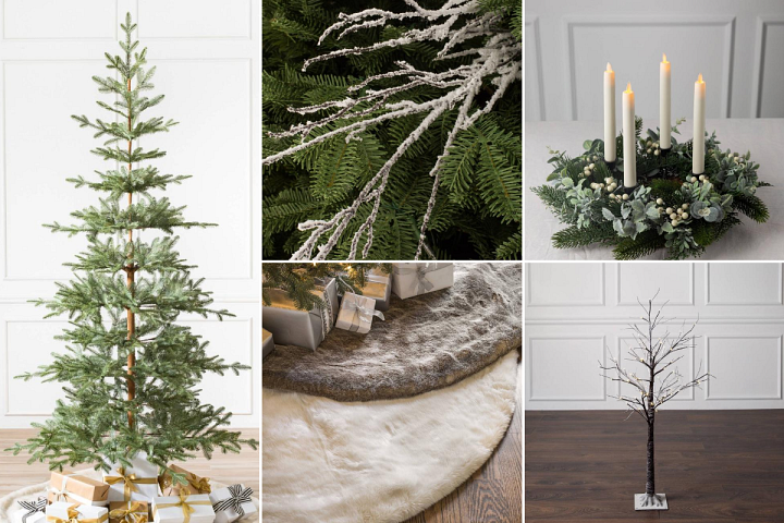 A collage of photos featuring Christmas décor in light, neutral colours