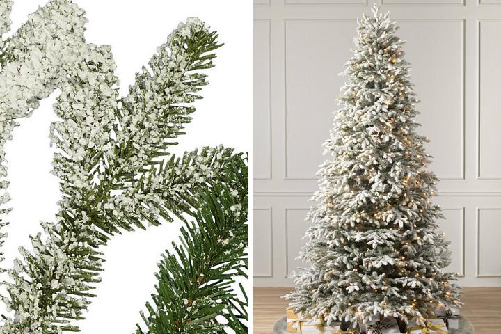 Nahaufnahme einer künstlichen verschneiten Fraser-Tanne links und vollständiges Profil des Baums rechts