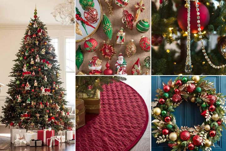 Christmas decorating ideas using assorted red, green, and gold ornaments and accents