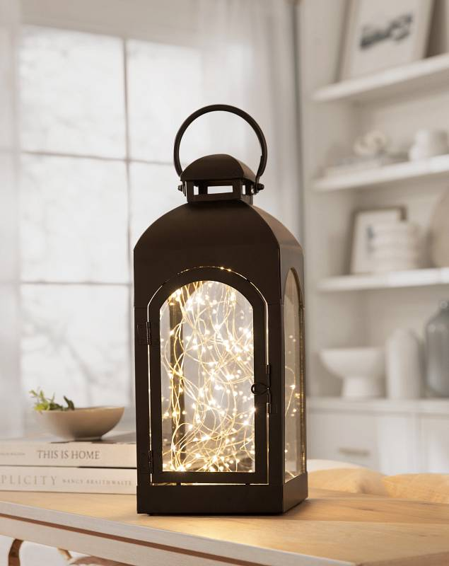 Small Brown Classic Fairy Lighted Lantern by Balsam Hill SSC
