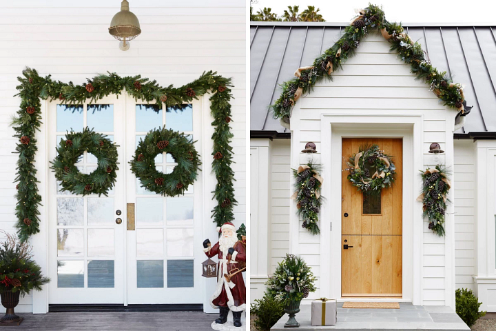 Decorated Christmas wreaths and garlands on white front porch