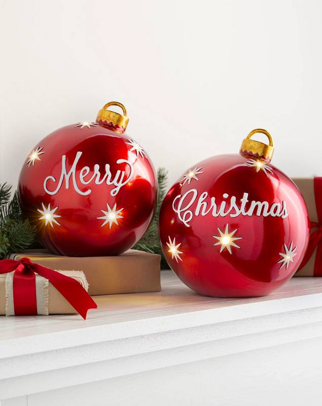 Lighted Tabletop Merry Christmas Ornaments Set of 2 by Balsam Hill
