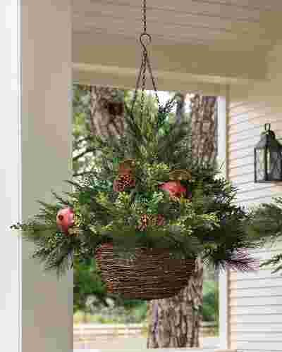 LED Mixed Pine Hanging Basket by Balsam Hill SSC 10