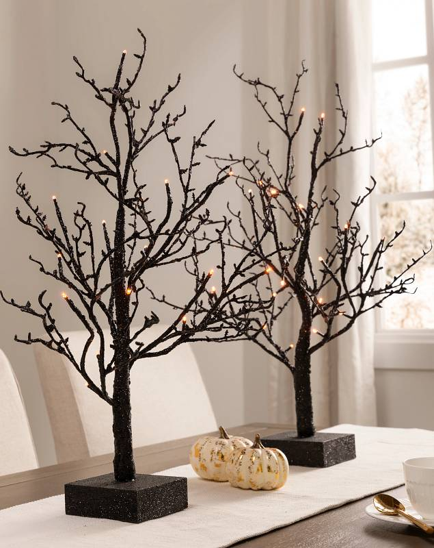 Halloween Glitter Tabletop LED Twig Trees Set of 2 SSC by Balsam Hill