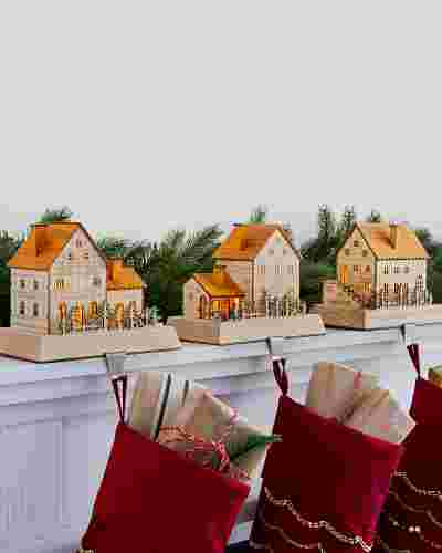 Wooden Alpine Village Stocking Holder by Balsam Hill