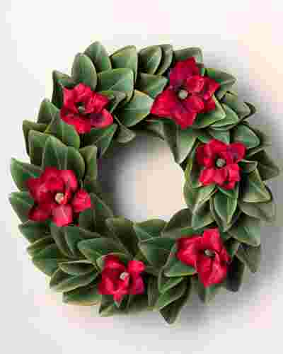 Red Magnolia Wreath by Balsam Hill