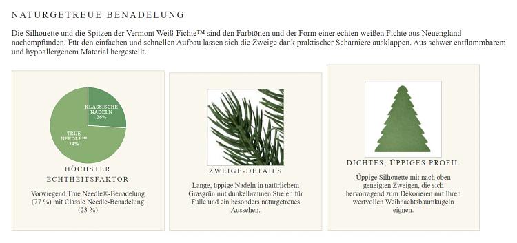 Screenshot der Produktseite eines künstlichen Weihnachtsbaums mit detaillierten Angaben zum Nadelkleid