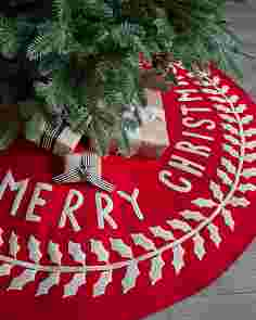 Merry Christmas Felt Tree Skirt by Balsam Hill