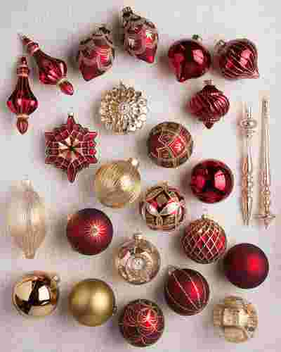 Brilliant Bordeaux Ornament Set, 25 Pieces by Balsam Hill SSC 10