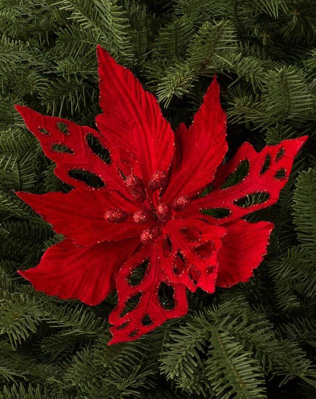 Velvet Poinsettia Picks, Set of 12 by Balsam Hill SSC 10