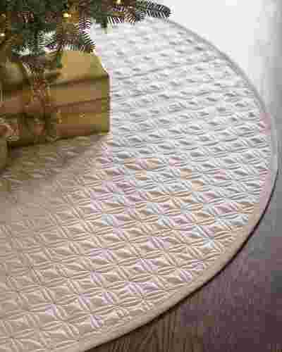 48in Ivory Lancaster Quilted Tree Skirt by Balsam Hill SSC 20