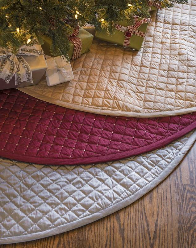 60in Cranberry Regency Dupioni Quilted Tree Skirt by Balsam Hill Main