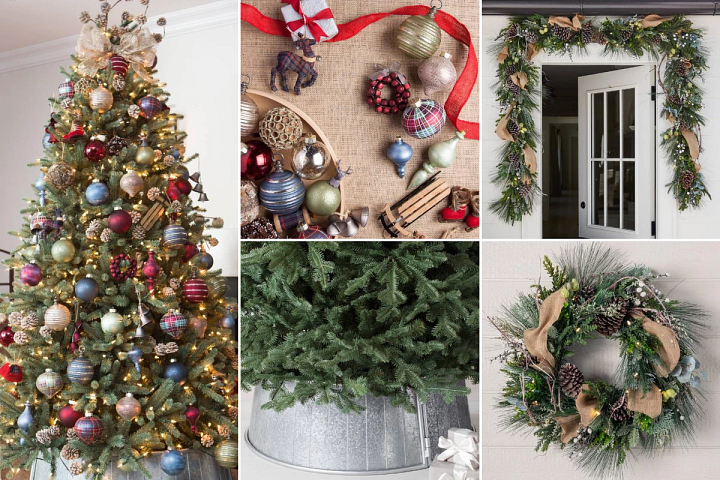 Farmhouse-themed Christmas decorating with rustic accents and plaid patterns