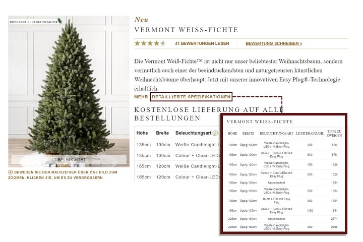 Screenshot der Produktseite eines künstlichen Weihnachtsbaums