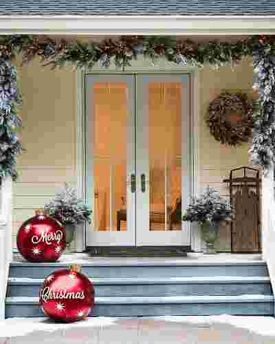 Outdoor Merry Christmas Ornaments, Set of 2 by Balsam Hill Lifestyle 10