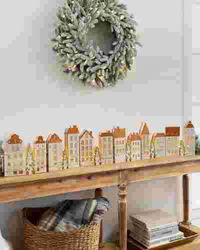 Lit Wooden Christmas Old Town by Balsam Hill SSC