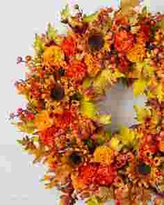 Outdoor Sunburst Mums Wreath 36in SSCR by Balsam Hill