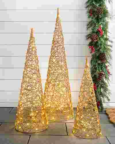 Outdoor LED Wire Cone Trees Set of 3 by Balsam Hill