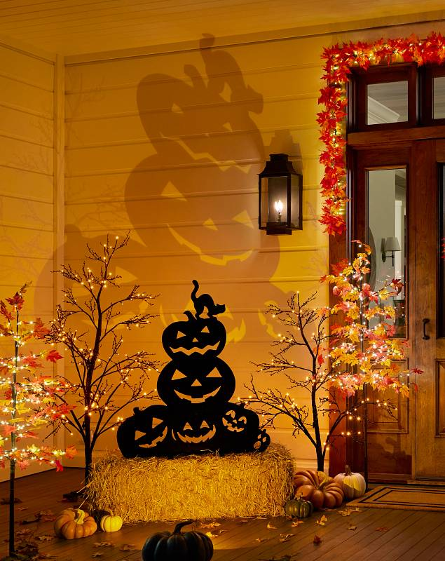 Outdoor Illuminated Jack O Lanterns Silhouette SSC by Balsam Hill