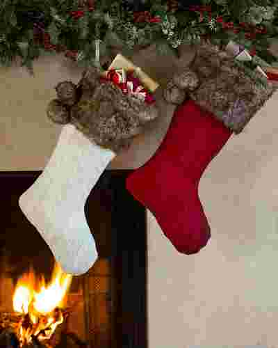 Cableknit Christmas Stockings, Set of 2 by Balsam Hill SSC 10