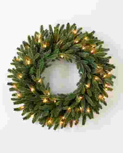 BH Fraser Fir Wreath 26in LED Clear by Balsam Hill SSC