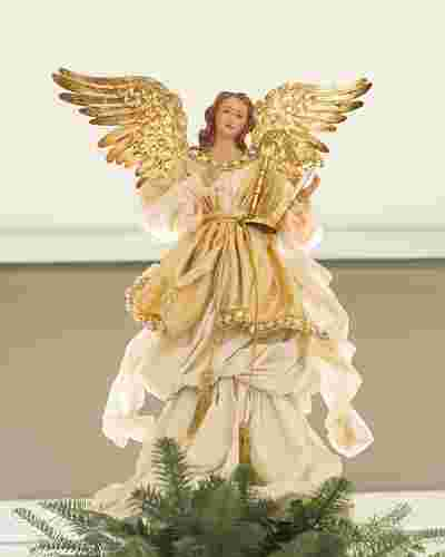 Gold Angel Christmas Tree Topper by Balsam Hill SSC 10