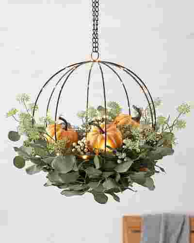 Eucalyptus and Pumpkin Hanging Basket by Balsam Hill