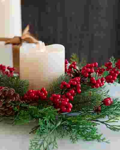 Christmas Pine Candle Rings, Set of 3 by Balsam Hill SSC 10