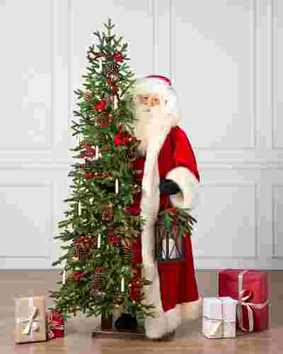 6' Life-Size Santa with Christmas Candle Tree by Balsam Hill