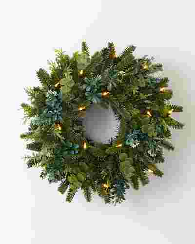 BH Fraser Fir Meadow Wreath 18in LED Clear by Balsam Hill SSC