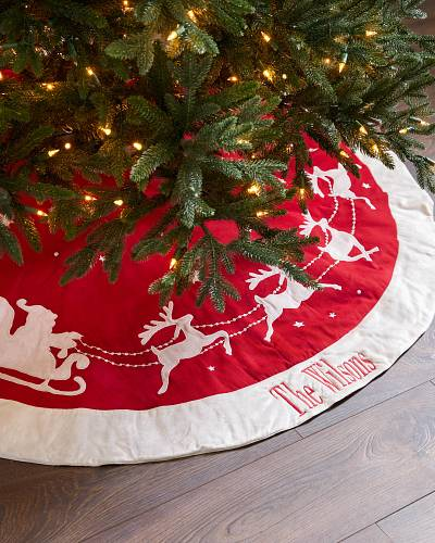 dashing through the snow christmas tree skirt balsam hill dashing through the snow tree skirt