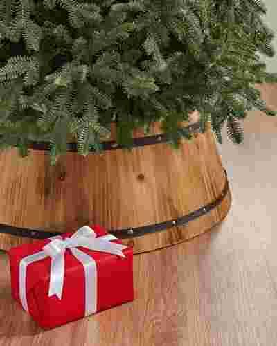Wooden Barrel Tree Collar by Balsam Hill SSC