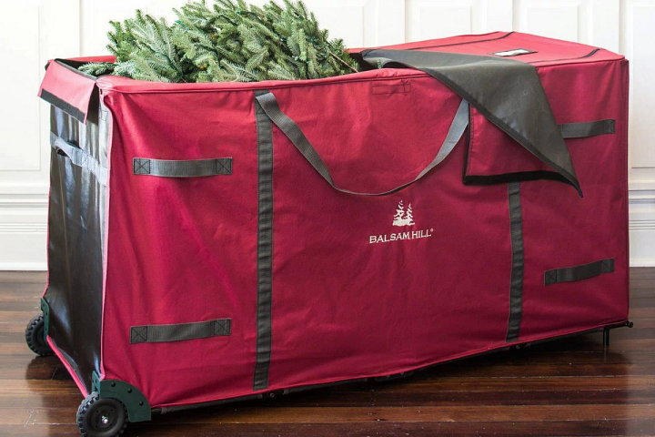 Christmas tree in a Balsam Hill rolling storage bag