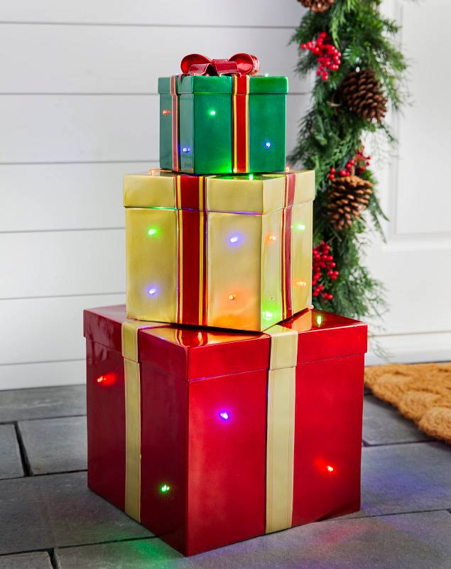 Outdoor Stackable Lighted Christmas Gifts by Balsam Hill