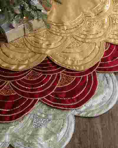 Elizabeth Beaded Tree Skirt by Balsam Hill Main