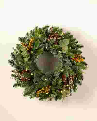 18 inches clear led Mountain Meadow Wreath by Balsam Hill SSC