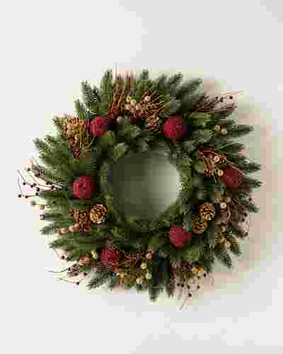 Vermont White Spruce Bordeaux Wreath Child Main by Balsam Hill SSC 10
