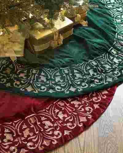 Luxe Embroidered Velvet Tree Skirt by Balsam Hill Main