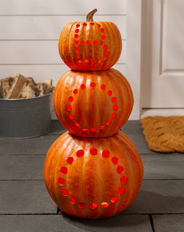 Boo Stacked LED Pumpkins SSC by Balsam Hill