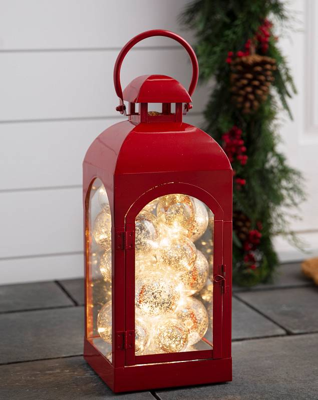 Red Lantern with Lighted Ornaments by Balsam Hill SSC