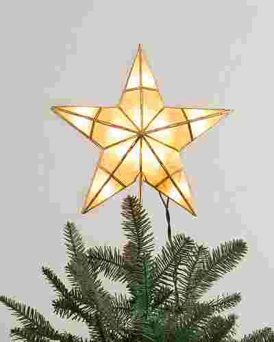 Small Capiz Star Lighted Tree Topper by Balsam Hill