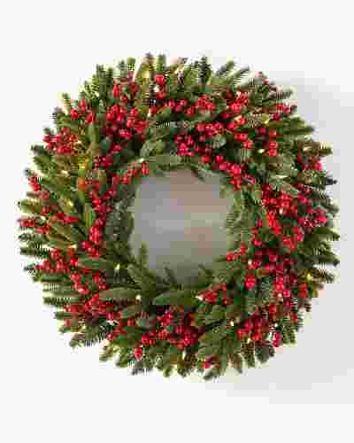 Red Berry Fraser Fir Wreath 30in LED Clear by Balsam Hill SSC