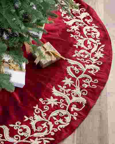 Wine and Pearl Beaded Tree Skirt by Balsam Hill SSC 10