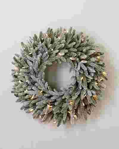 30 inches Clear LED Frosted Fraser Fir Wreath by Balsam Hill SSC