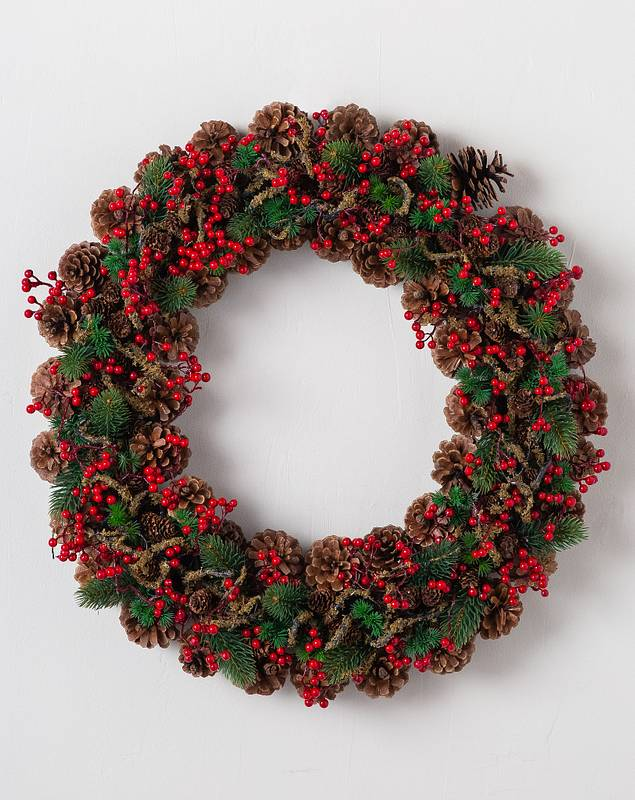 Red Berry Pinecone Wreath by Balsam Hill