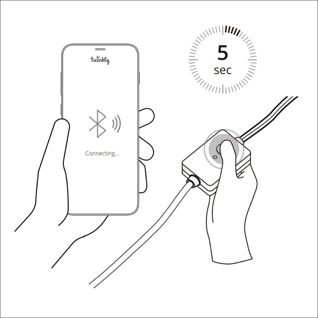 Illustrated instructions of Twinkly mobile app setup