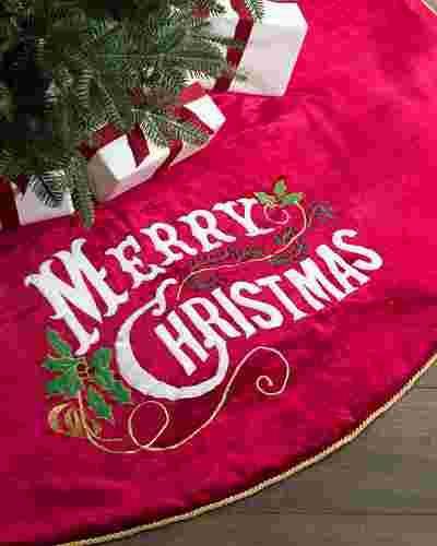 Classic Merry Christmas Velvet Tree Skirt by Balsam Hill SSC 10
