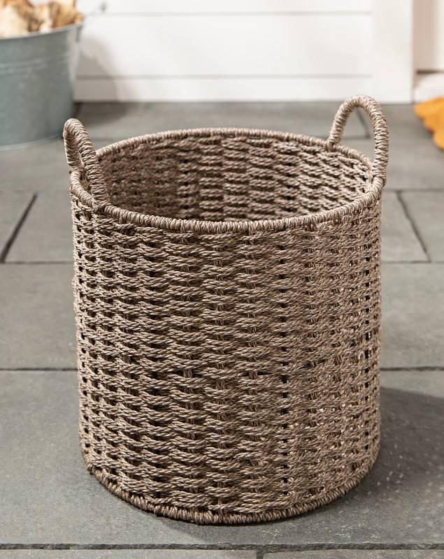 Gray Outdoor Woven Basket SSC by Balsam Hill