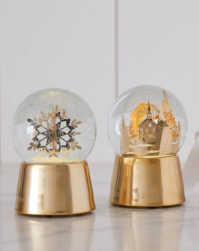Nicole Miller Gold Snowflake Snow Globe by Balsam Hill Lifestyle 10
