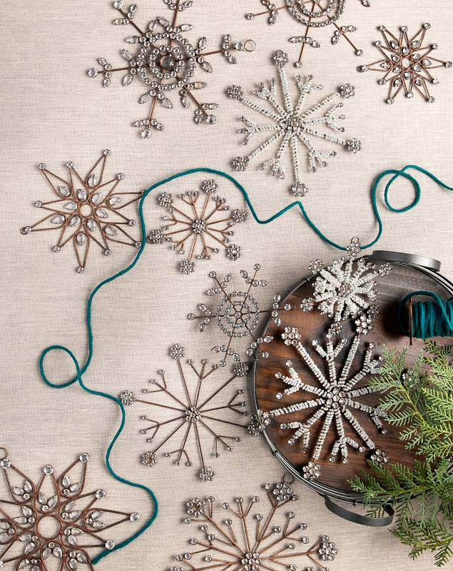Antiqued Snowflake Ornament Set, 12 Pieces by Balsam Hill SSC 10